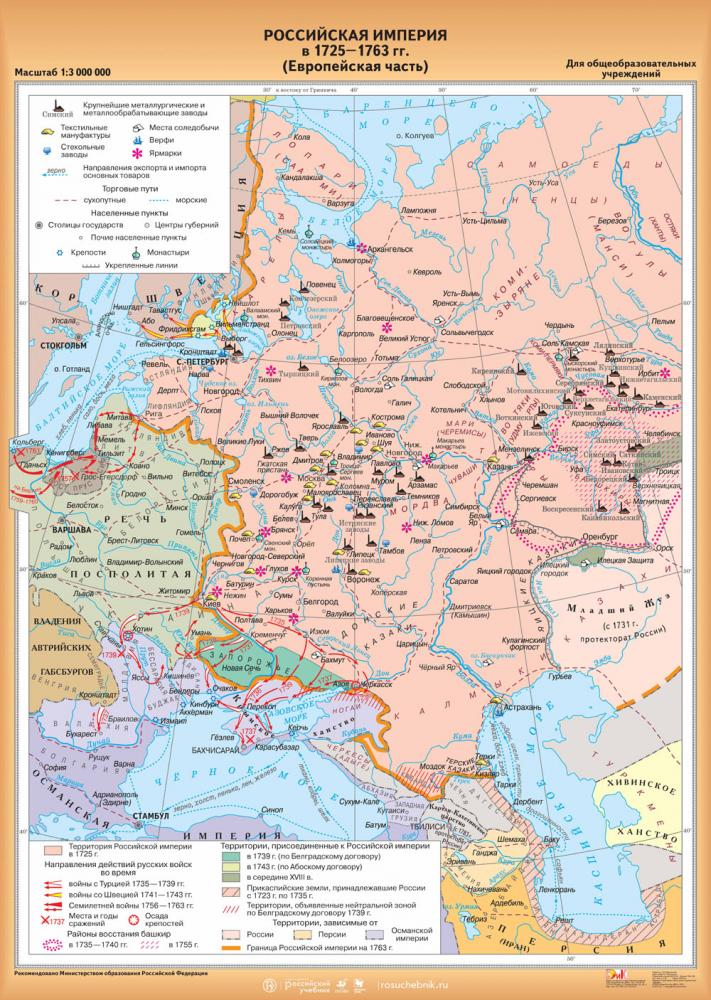 Российская империя 1725-1763 гг. (европейская часть)